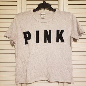 Euc Pink by Victoria's secret gray crop top size s